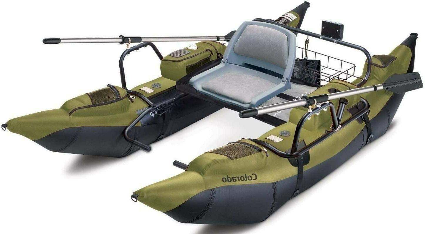 colorado inflatable pontoon boat with oars