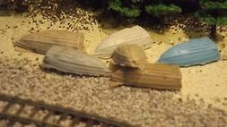 N-Scale 6 Unfinished Row Boats 1:160 Model Train Detail Acce